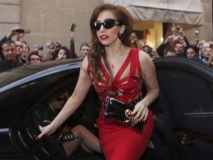 Lady Gaga arrives at the Versace atelier in Milan, Italy.