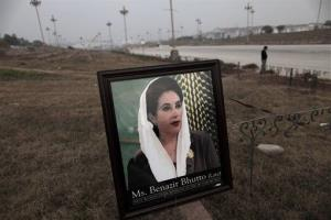 A framed photograph of Pakistan's Benazir Bhutto is left by supporters at the site of a ceremony to mark the fifth anniversary of her death, in Islamabad, Pakistan.