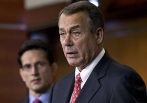 Speaker of the House John Boehner and House Majority Leader Eric Cantor speak to reporters on Friday.