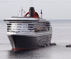 The transatlantic ocean liner Queen Mary 2 sails into in the harbor of Monaco, Thursday, April 14 , 2011.