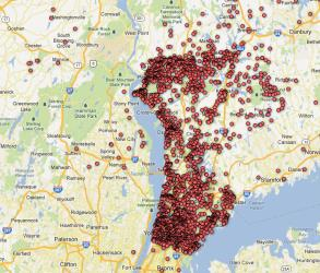 A screenshot of the Journal News' online map of permit pistol owners in two New York counties.