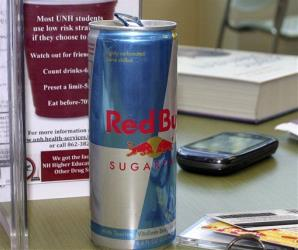 In this photo taken Wednesday Sept. 28, 2011, a student's can of Red Bull energy drink is seen on a table at the student union building at the University of New Hampshire in Durham, NH.