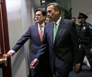 John Boehner and Eric Cantor enter a second Republican caucus meeting at the US Capitol, Jan. 1, 2013.