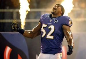 Baltimore Ravens linebacker Ray Lewis is introduced before a game against the New England Patriots in September.