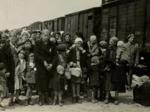 In this May 1944 photo, Jewish women and children deported from Hungary, separated from the men, line up for selection on the selection platform at the Auschwitz camp.