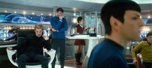 Chris Pine, left, Karl Urban, second left, Zachary Quinto, foreground and John Cho are shown in a scene from the first Abrams Star Trek movie.