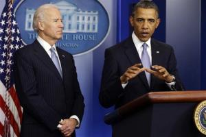 In this Jan. 1, 2013 photo, President Obama and Joe Biden make a statement regarding the passage of the fiscal cliff.