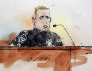 This courtroom sketch shows Aurora Police officer Justin Grizzel as he testifies at a preliminary hearing for James Holmes at a district court in Centennial, Colo., on Monday, Jan. 7, 2013.