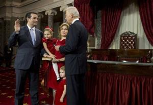 Vice President Joe Biden administers the Senate Oath to Sen. Ted Cruz last week.