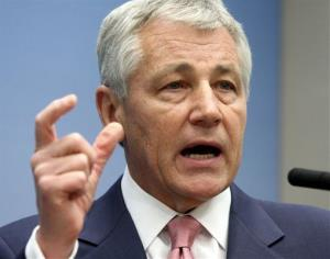 In this June 26, 2008 file photo, then Sen. Chuck Hagel, R-Neb., speaks on foreign policy at the Brookings Institution in Washington.