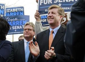 Edward Kennedy Jr. and former US Rep. Patrick Kennedy, right, attend a campaign event for Elizabeth Warren in Boston, Monday, Nov. 5, 2012.