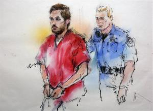 This courtroom sketch shows James Holmes being escorted by a deputy as he arrives at preliminary hearing in district court in Centennial, Colo., on Monday, Jan. 7, 2013.