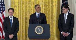 President Obama, flanked by outgoing Treasury Secretary Timothy Geithner, left, and his expected replacement, current chief of staff Jack Lew.