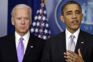 President Barack Obama stands with Vice President Joe Biden as he makes a statement on Dec. 19, 2012 in the White House about policies he will pursue following the massacre at Sandy Hook Elementary School in Newtown, Ct.