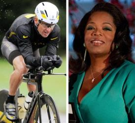 This combination image made of file photos shows Lance Armstrong and Oprah Winfrey.