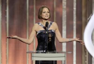 Jodie Foster, recipient of the Cecil B. Demille Award, speaks the 70th Annual Golden Globe Awards at the Beverly Hilton Hotel.