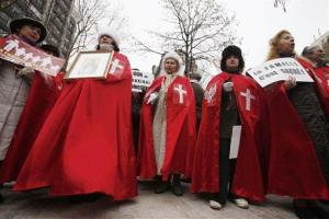 Members of the fundamentalist Catholic group Civitas demonstrate in Paris yesterday.