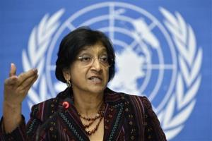Navi Pillay, U.N. High Commissioner for Human Rights, speaks during a press conference at the European headquarters of the United Nations in Geneva, Switzerland, Thursday, Oct. 18, 2012.