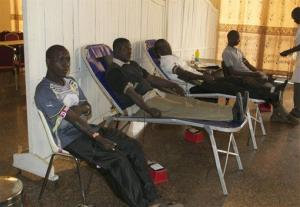 Volunteers donate blood at the International Conference Center in Bamako, Mali, to support Mali's army in their fight against al-Qaeda linked militants controlling the country's north.
