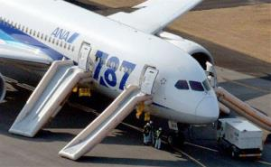 An All Nippon Airways flight sits at Takamatsu airport in Takamatsu, Japan, after it made an emergency landing. A cockpit message showed battery problems.