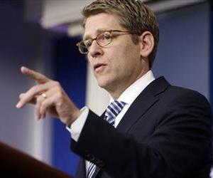 White House press secretary Jay Carney gestures as he speaks during his daily news briefing at the White House in Washington, Jan. 9, 2013.