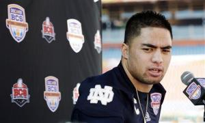 In this Jan. 5, 2013, file photo, Notre Dame linebacker Manti Te'o answers a question during media day for the BCS national championship.