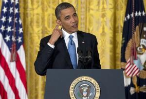 President Barack Obama speaks during the last news conference of his first term in the East Room of the White House in Washington, Monday, Jan. 14, 2013.