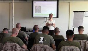 Dr. Elizabeth Stanley teaches a class of Marines at Camp Pendleton, Calif.