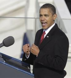 This Jan. 20, 2009 file photo shows President Barack Obama delivering his inaugural address on Capitol Hill in Washington.