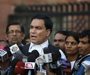 AP Singh, lawyer for one of the accused, speaks to journalists outside the Saket district court comple in New Delhi, India, Jan. 21, 2013. .