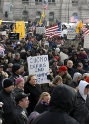 Demonstrators rally outside the Capitol in Albany, NY, on Saturday, Jan. 19, 2013 to assert their right to own firearms and to denounce recent gun-control efforts.