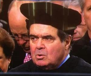 Scalia is spotted wearing a strange hat in this TV screenshot.