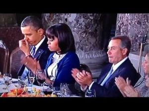 Boehner, possibly working on his next zinger, is seen next to the first couple at the inauguration luncheon.