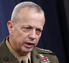 This May 23, 2012, file photo shows Marine Gen. John R. Allen speaking at the Pentagon.