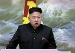 In this Dec. 21, 2012 file image made from video, North Korean leader Kim Jong Un speaks at a banquet for rocket scientists in Pyongyang, North Korea.