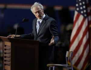 In this Aug. 30,, 2012 file photo, actor and director Clint Eastwood speaks to an empty chair while addressing delegates during the Republican National Convention in Tampa, Fla.