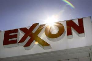 An Exxon logo at a gas station in Dallas.