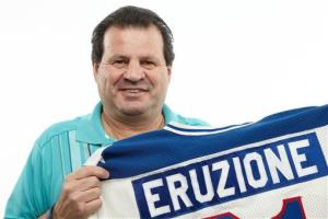 This handout photo, provided by Heritage Auctions, shows Mike Eruzione with his jersey.