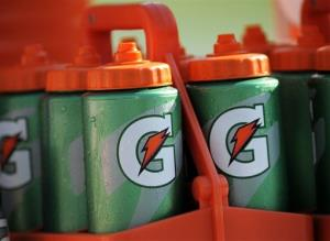 In this file photo, Gatorade bottles are kept cool on the sidelines of an NFL game.