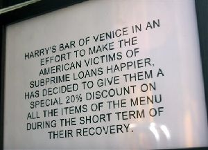 A view of the sign outside the entrance of Harry's Bar, in Venice, northern Italy, in this April 5, 2008 photo made available Monday, April 7, 2008.