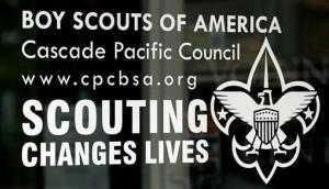 In this Sept. 13, 2011, file photo, shows the front door of the Boy Scouts of America Cascade Pacific Council office, in Portland, Ore.