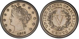 An authentic 1913 Liberty Head nickel, one of only five known and expected to sell for $2.5 million or more in an auction in Schaumburg, Ill., on April 25, 2013.