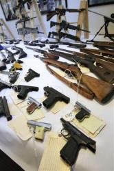 Some of the firearms California has managed to seize.