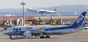 An All Nippon Airways' Boeing 787  parks on the tarmac  off at Haneda Airport in Tokyo.