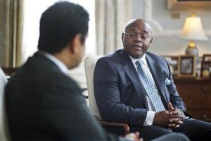 William Mo Cowan, right, is only the eighth black senator in history.