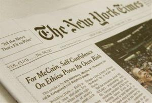 The front page of the Thursday Feb. 21, 2008, edition of the New York Times.