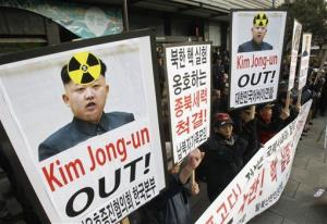 South Korean protesters shout slogans  during a rally against possible nuclear test by North Korea in Seoul, South Korea, Thursday, Jan. 31, 2013.