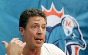Former Miami Dolphins quarterback Dan Marino talks to reporters during a news conference in Davie, Fla., in this Oct. 7, 2005 file photo.