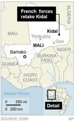 Map shows developments in Mali