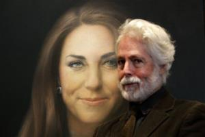 Artist Paul Emsley poses for photographers next to his portrait of Kate, duchess of Cambridge.